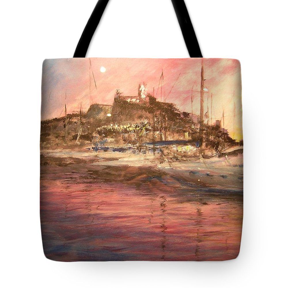 Yachts Tote Bag featuring the painting Ibiza Old Town At Sunset by Lizzy Forrester