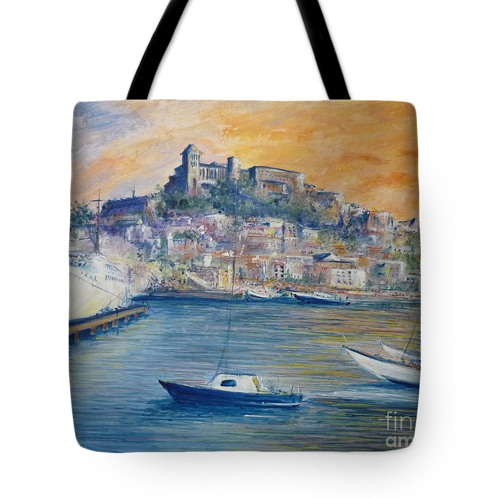 Marina Tote Bag featuring the painting Ibiza Old Town Marina And Port by Lizzy Forrester