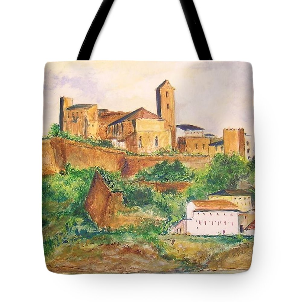 Landscape Tote Bag featuring the painting Ibiza Old Town Unesco Site by Lizzy Forrester