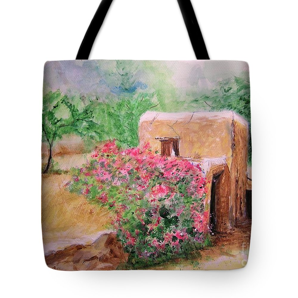 Rustic Tote Bag featuring the painting Ibiza Rustica by Lizzy Forrester