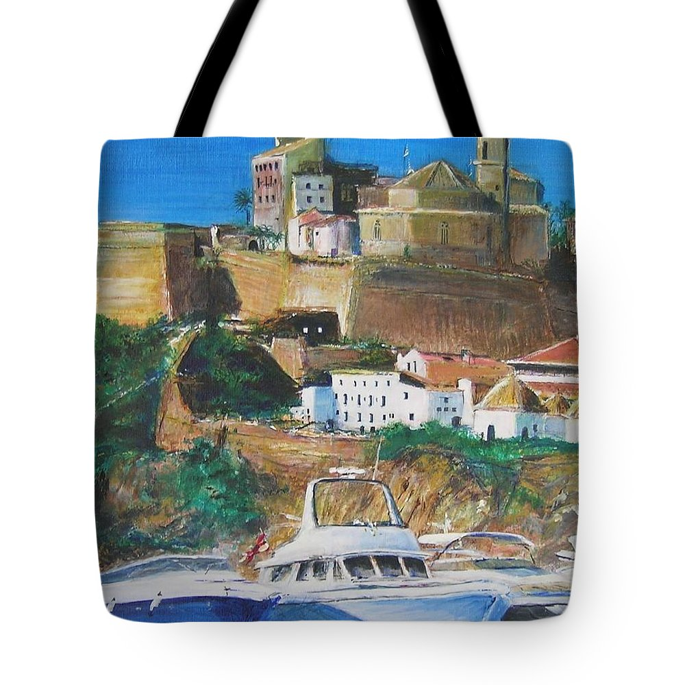 Original Landscape Painting Tote Bag featuring the painting Ibiza Town by Lizzy Forrester