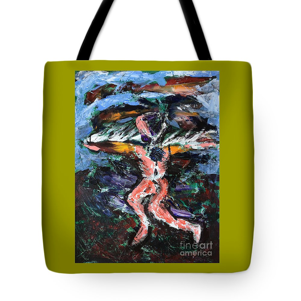 Icarus Tote Bag featuring the painting Icarus by Uwe Hoche