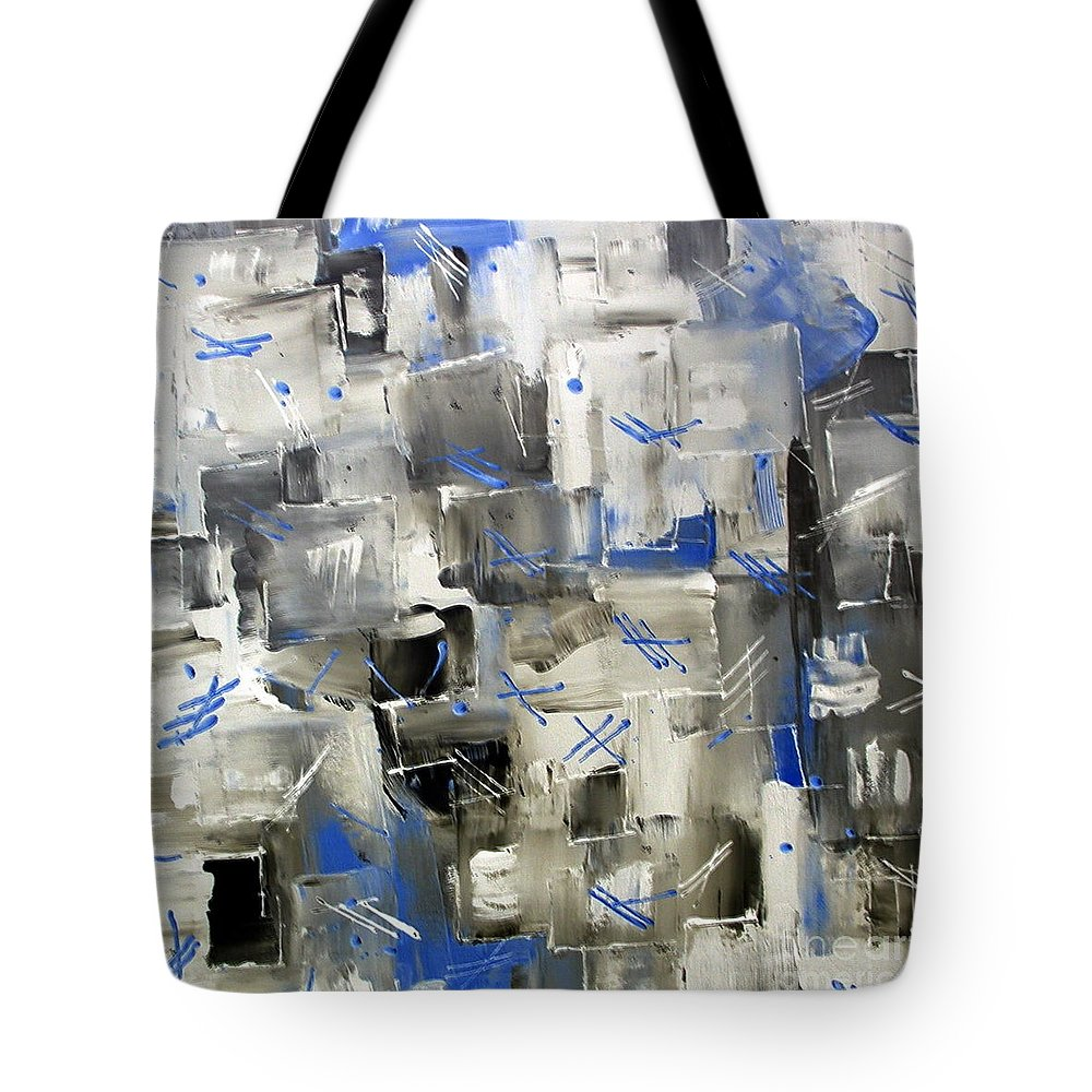 Blue Ice Tote Bag featuring the painting Ice Blue by Dawn Hough Sebaugh