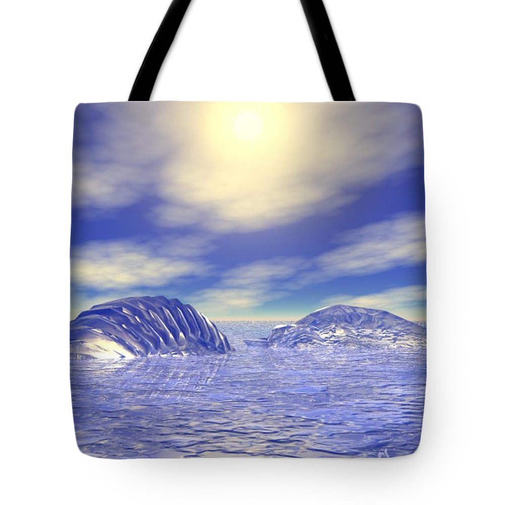 Digital Tote Bag featuring the digital art Ice Caps by Gina Lee Manley