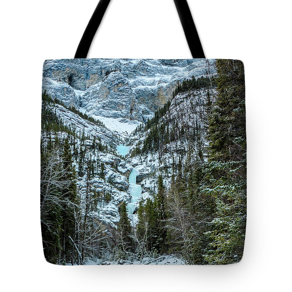 Canada Tote Bag featuring the photograph Ice Climbers Approaching Professor Falls Rated Wi4 In Banff Nati by Elijah Weber
