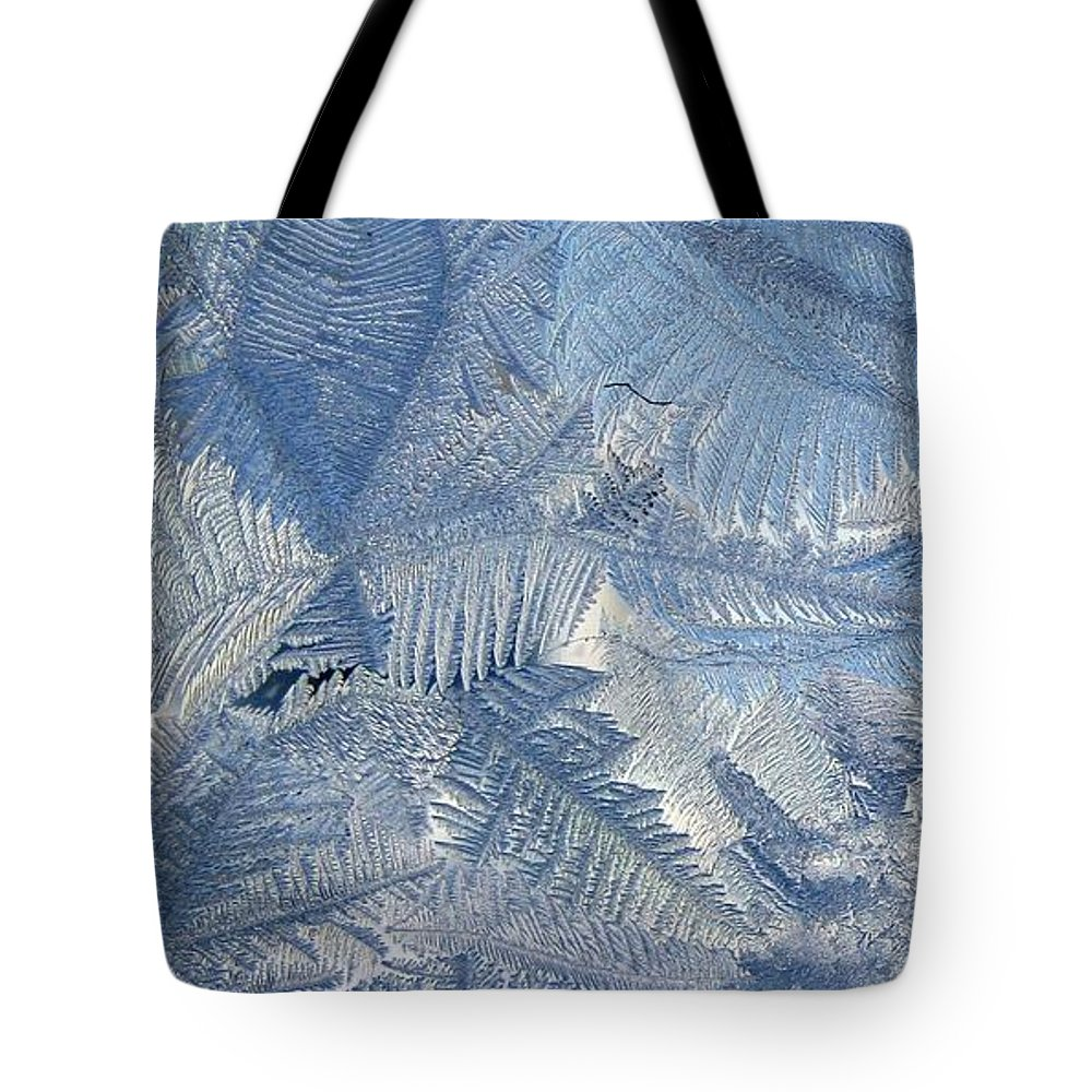 Ice Tote Bag featuring the photograph Ice Crystals by Rhonda Barrett