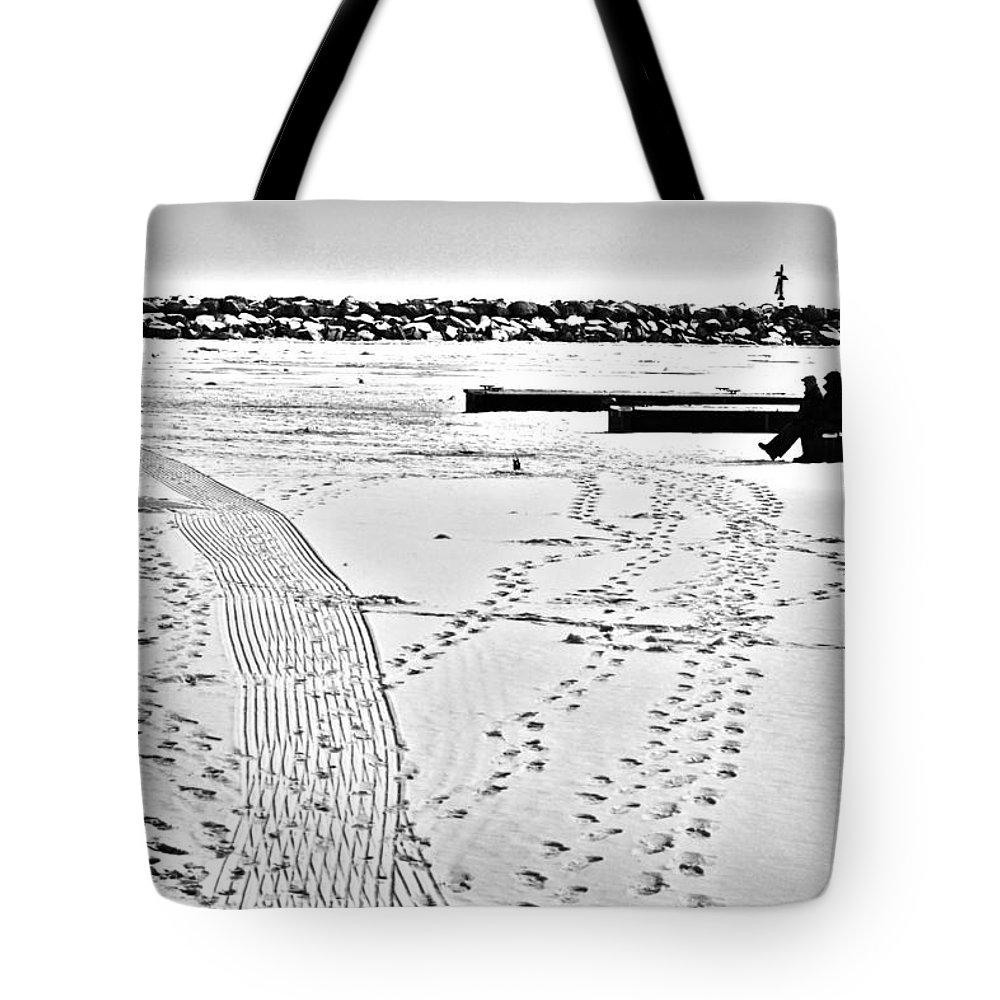 Ice Fishing Tote Bag featuring the photograph Ice Fishing On Lake Michigan by Barbara Budish