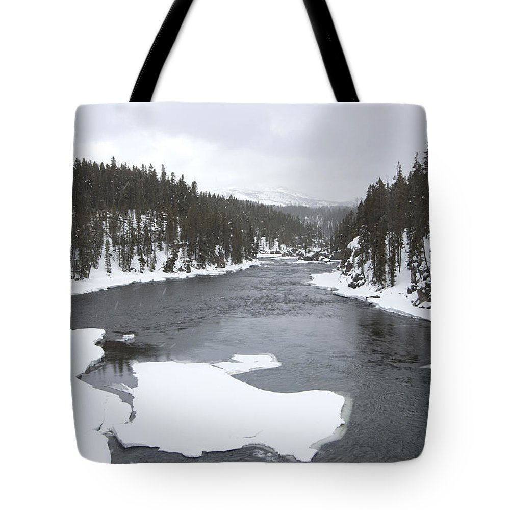 Landscape Tote Bag featuring the photograph Ice Flows by Mary Haber