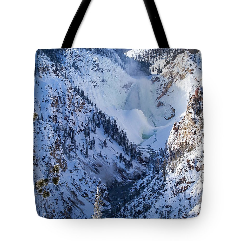 Yellowstone National Park Tote Bag featuring the photograph Ice In The Falls by Bob Phillips