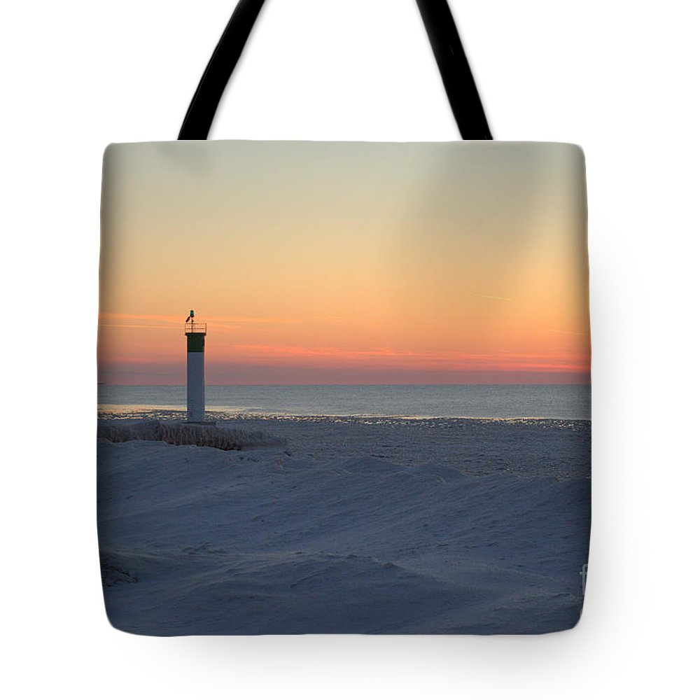 Grand Bend Tote Bag featuring the photograph Ice Mound Glow 4 by John Scatcherd