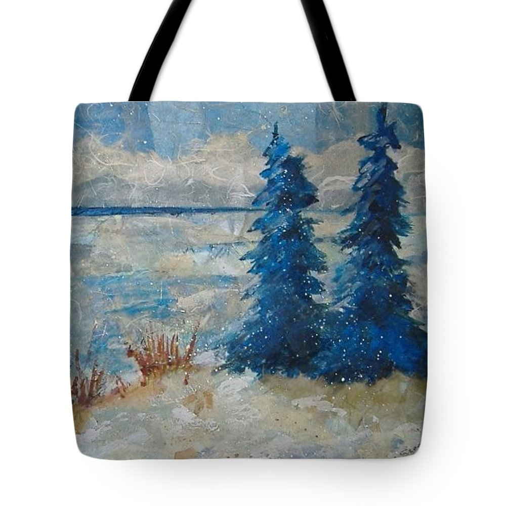 Landscape Tote Bag featuring the mixed media Ice On Lake Erie by Pat Snook