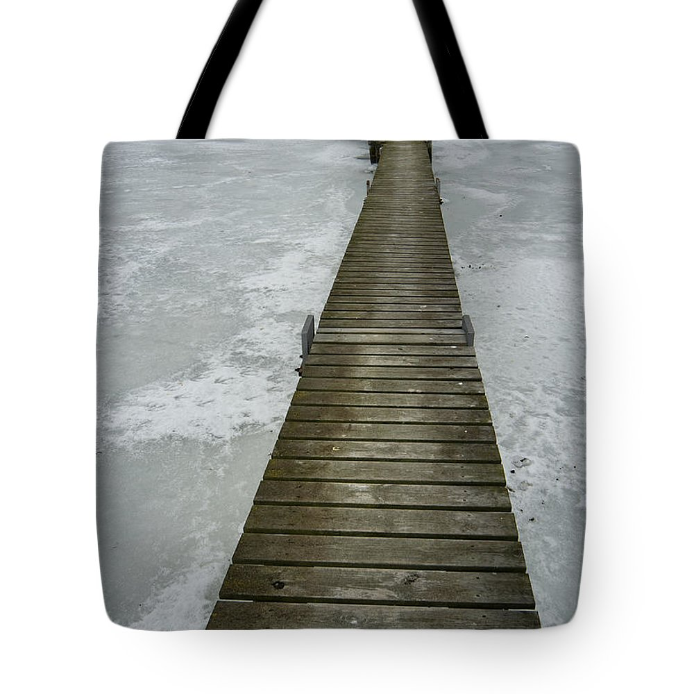 Pier Tote Bag featuring the photograph Ice Pier by Robert Lacy