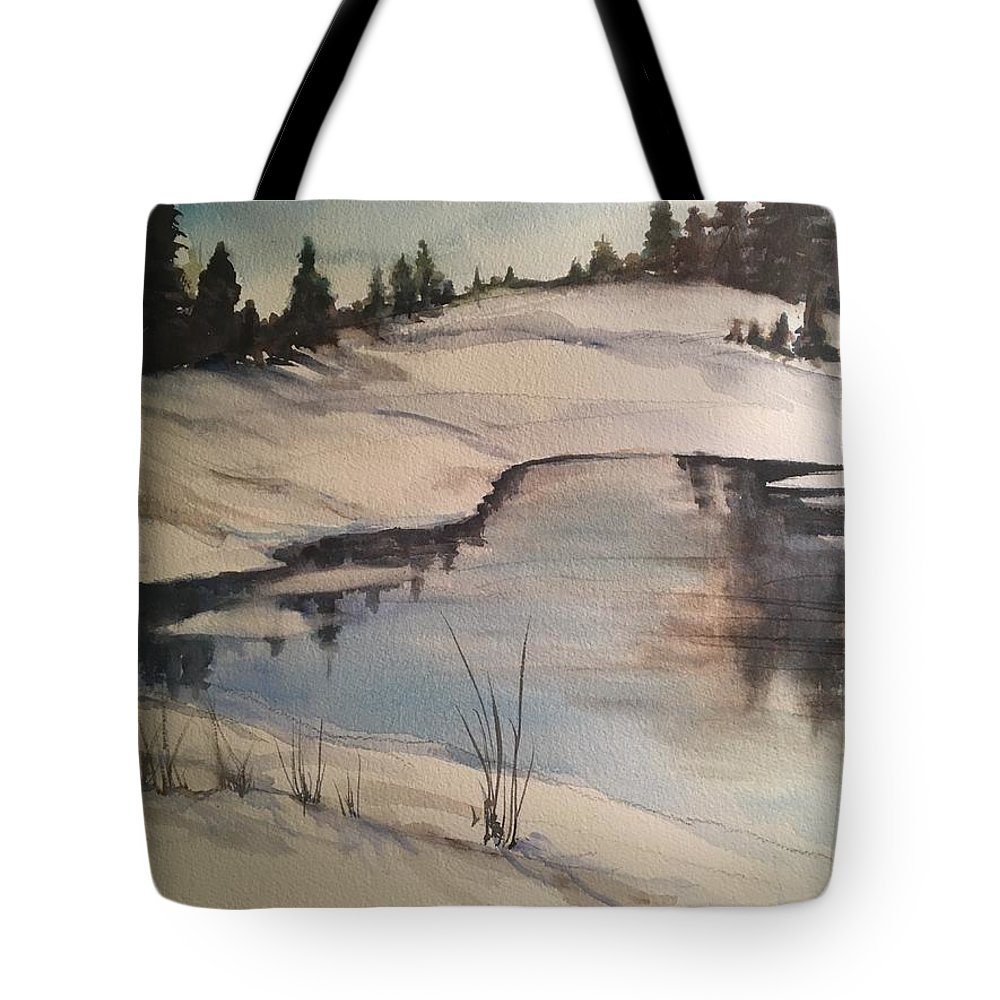 Landscape Tote Bag featuring the painting Ice Pond by Iva Fendrick