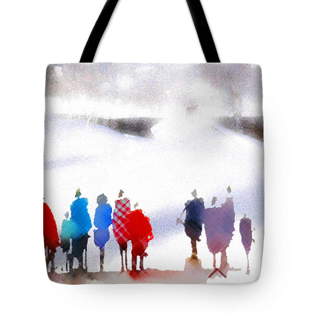 Nature Tote Bag featuring the painting Ice Space by Anil Nene