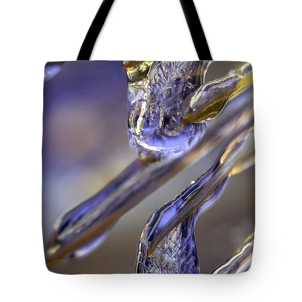 Macro Tote Bag featuring the photograph Ice Storm II by Lauren Radke