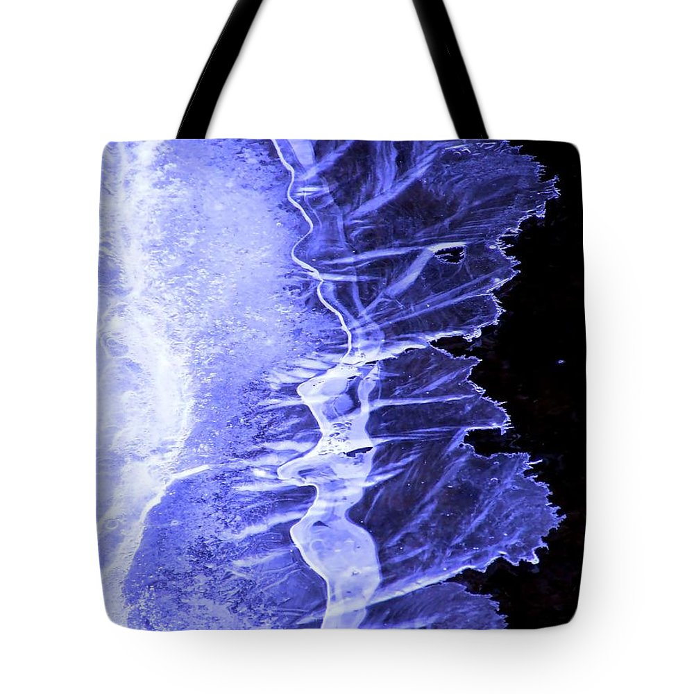 Ice Tote Bag featuring the photograph Blue Ice by Tiffany Vest