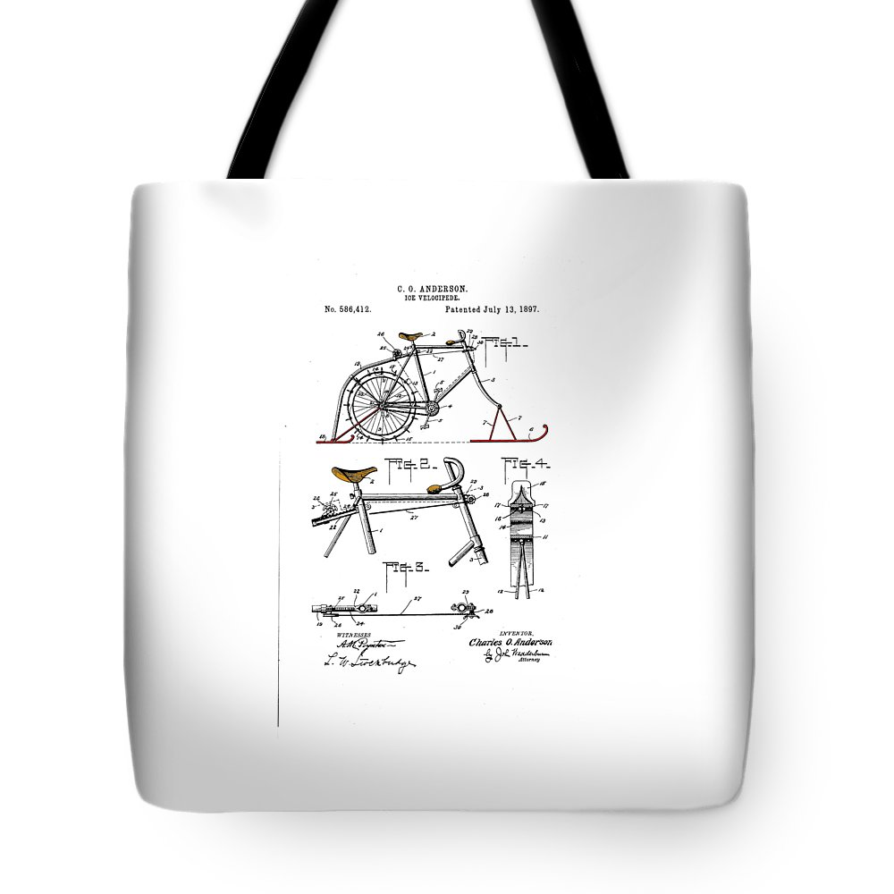 Bicycle Tote Bag featuring the drawing Ice Velocipede by Ray Walsh