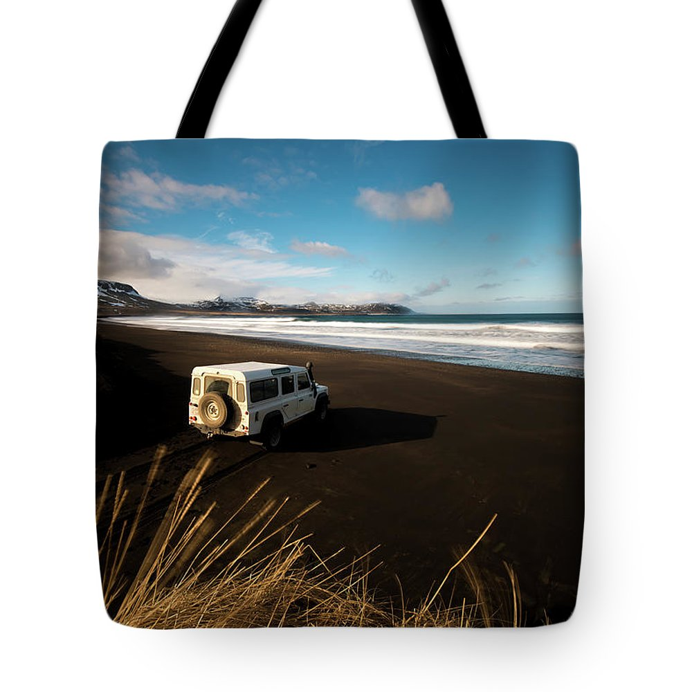 Iceland Tote Bag featuring the photograph Iceland Black Sand Beach by Larry Marshall