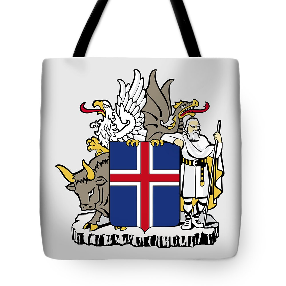 Iceland Tote Bag featuring the drawing Iceland Coat Of Arms by Movie Poster Prints