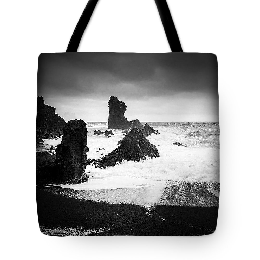 Iceland Tote Bag featuring the photograph Iceland Dritvik beach and cliffs dramatic black and white by Matthias Hauser