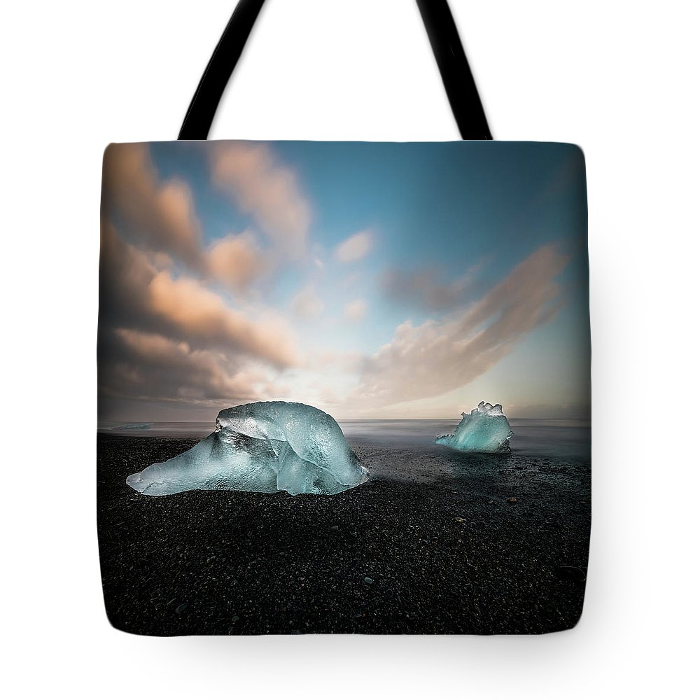 Iceland Tote Bag featuring the photograph Iceland Glacial Ice by Larry Marshall