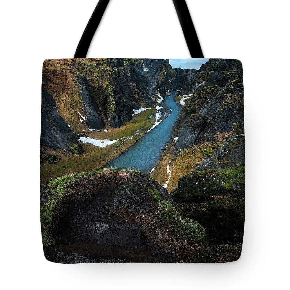 Iceland Tote Bag featuring the photograph Iceland Gorge by Larry Marshall