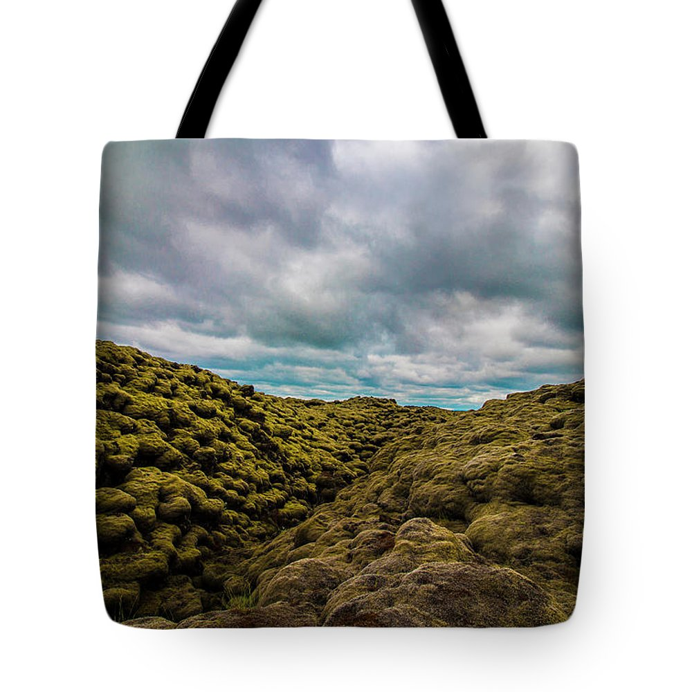 Landscape Tote Bag featuring the photograph Iceland Moss And Clouds by Venetia Featherstone-Witty