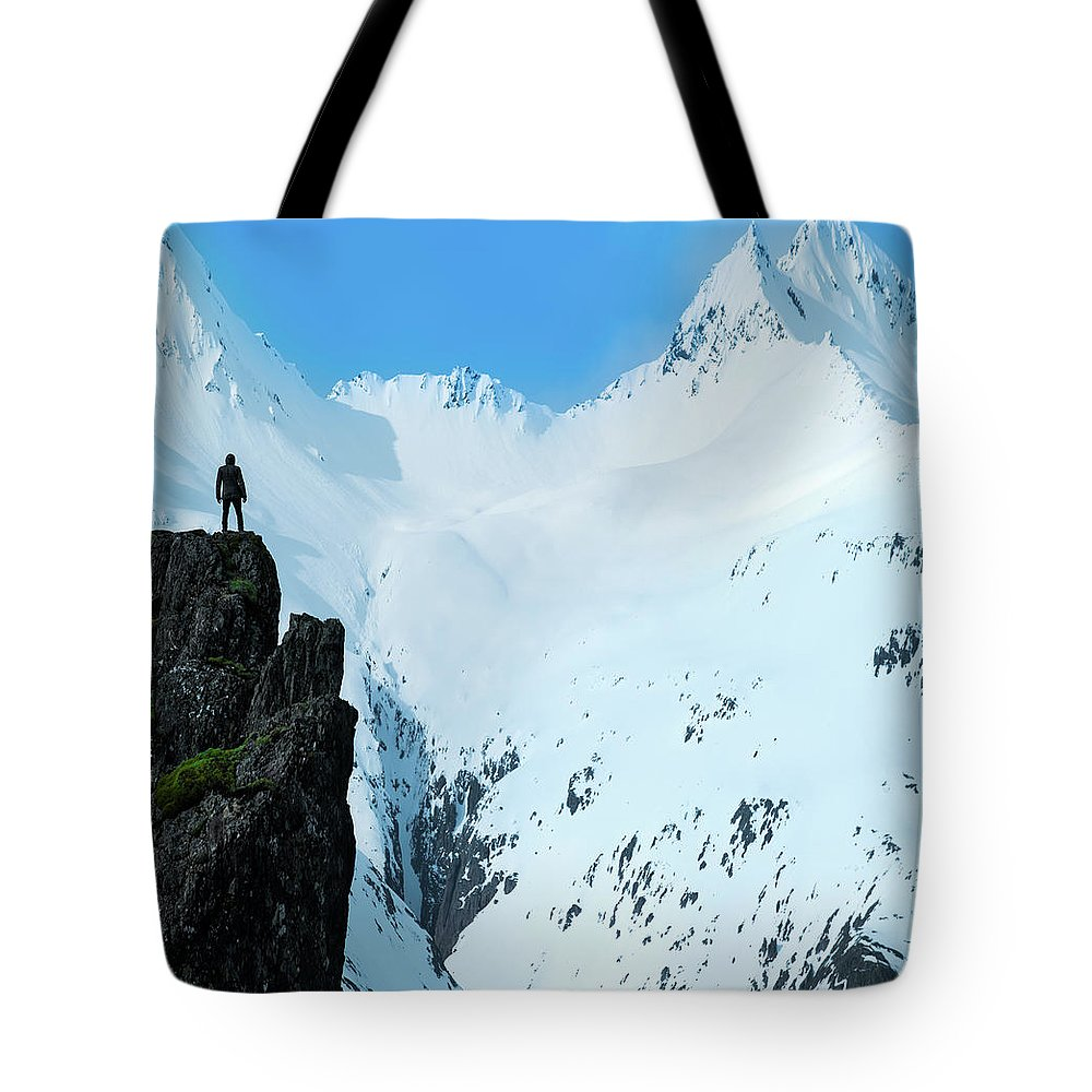 Iceland Tote Bag featuring the photograph Iceland Snow Covered Mountains by Larry Marshall