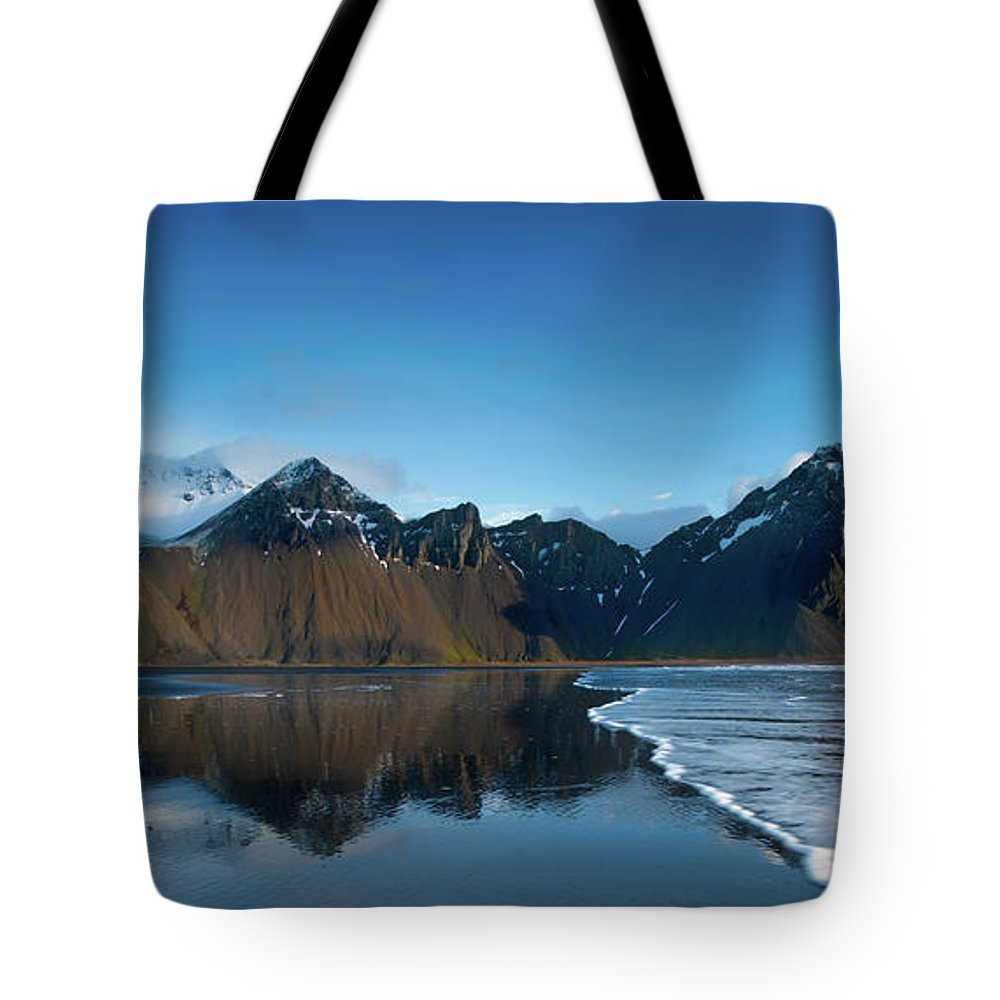 Sunrise Tote Bag featuring the photograph Iceland Sunrise by Larry Marshall