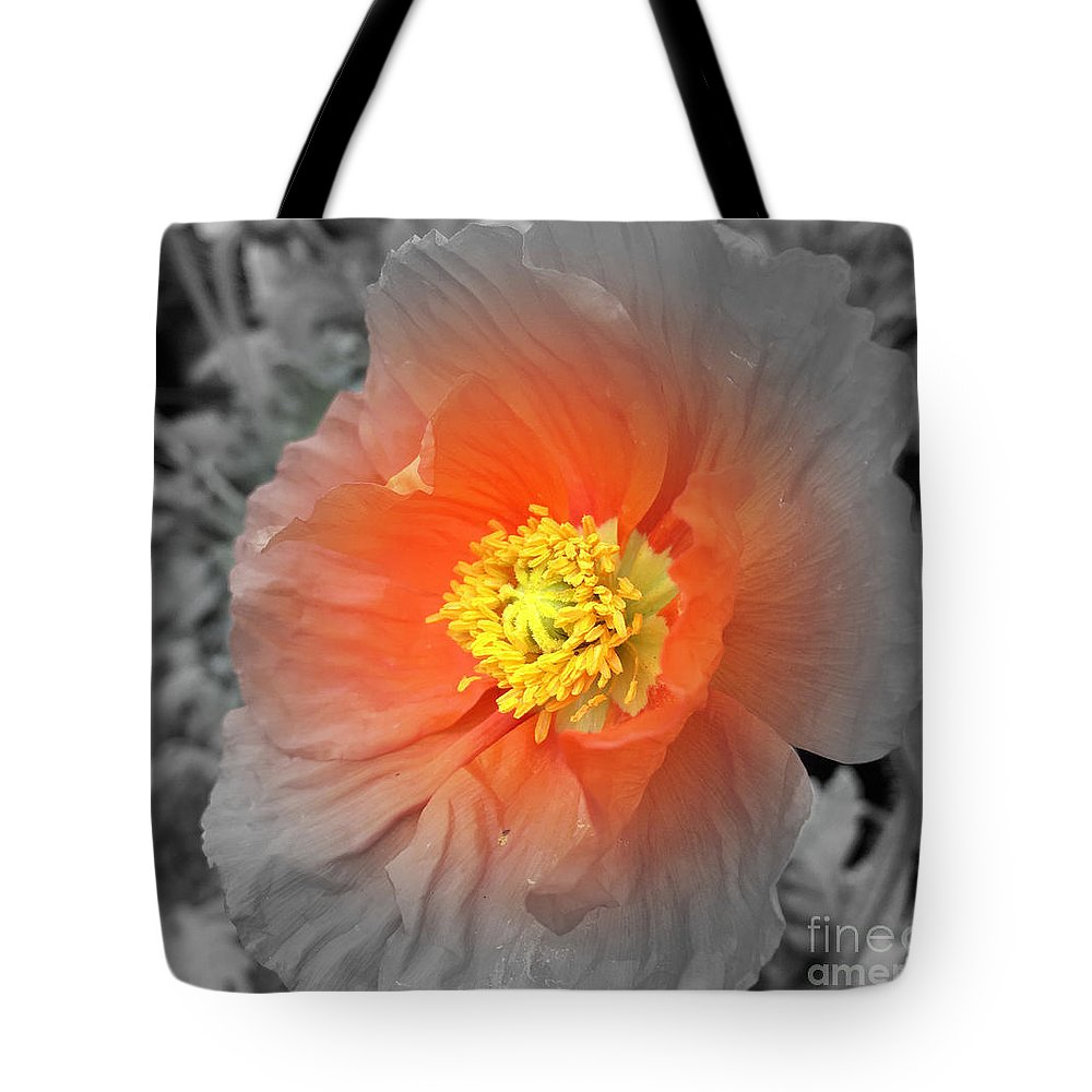Flower Tote Bag featuring the photograph Icelandic Poppy by Pruddygurl Exclusives