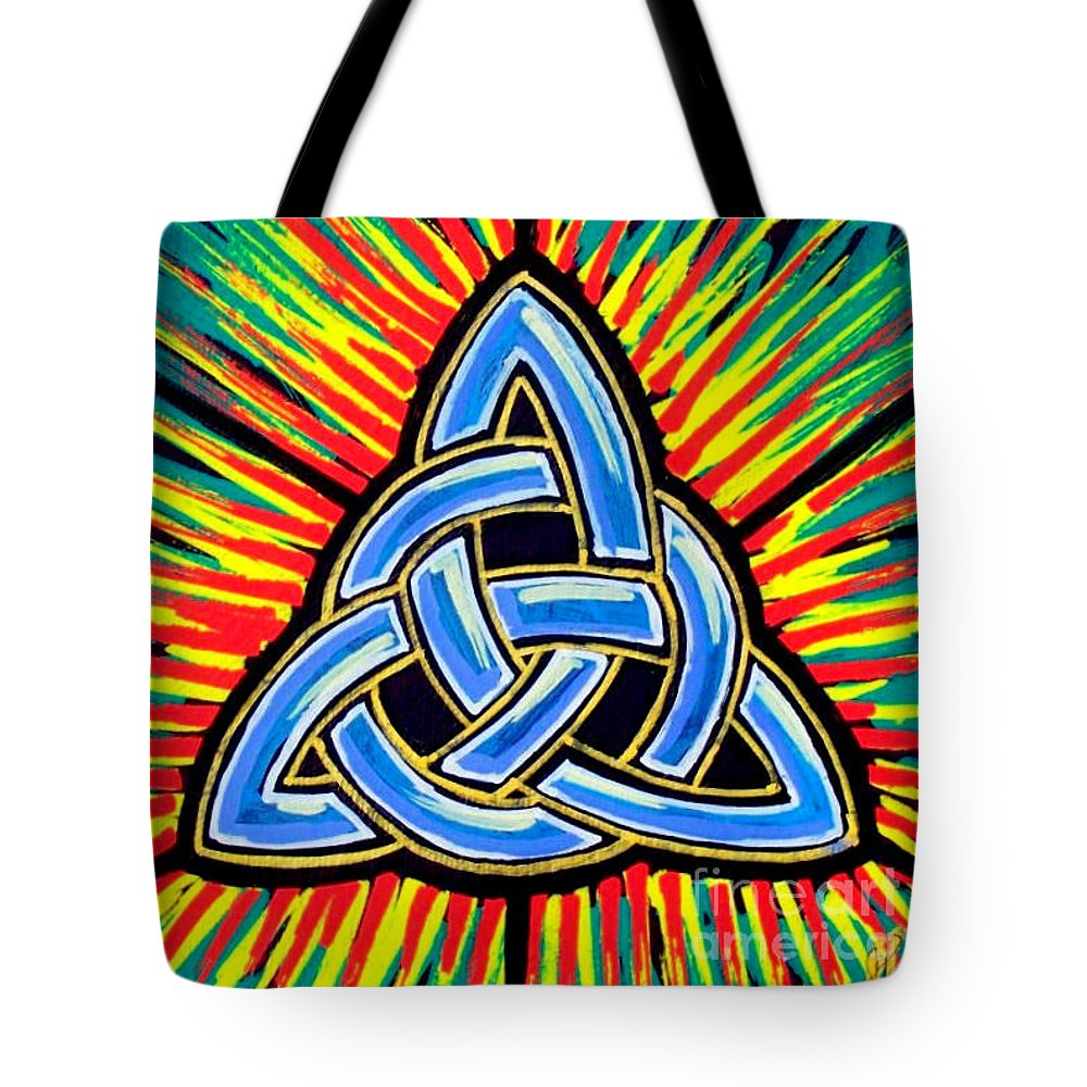 Trinity Tote Bag featuring the painting Icon Celtic Trinity by Jim Harris