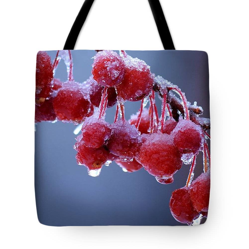 Winter Tote Bag featuring the photograph Icy Berries by Lisa Kane