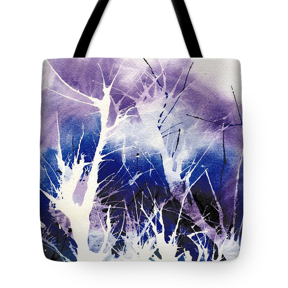 Ice Tote Bag featuring the painting Icy Forest by Marsha Elliott