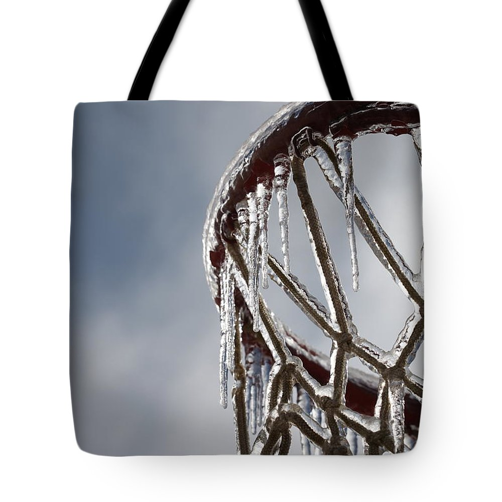 Basketball Tote Bag featuring the photograph Icy Hoops by Nadine Rippelmeyer