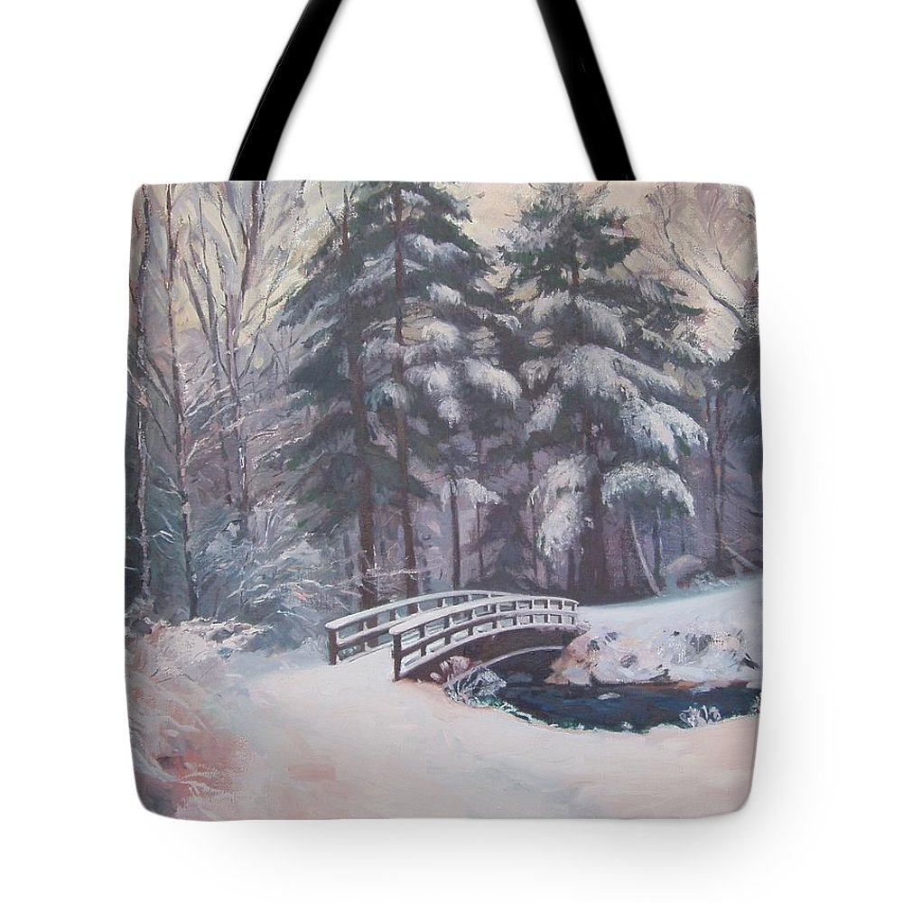 Landscape Tote Bag featuring the painting Icy Stream by Dianne Panarelli Miller