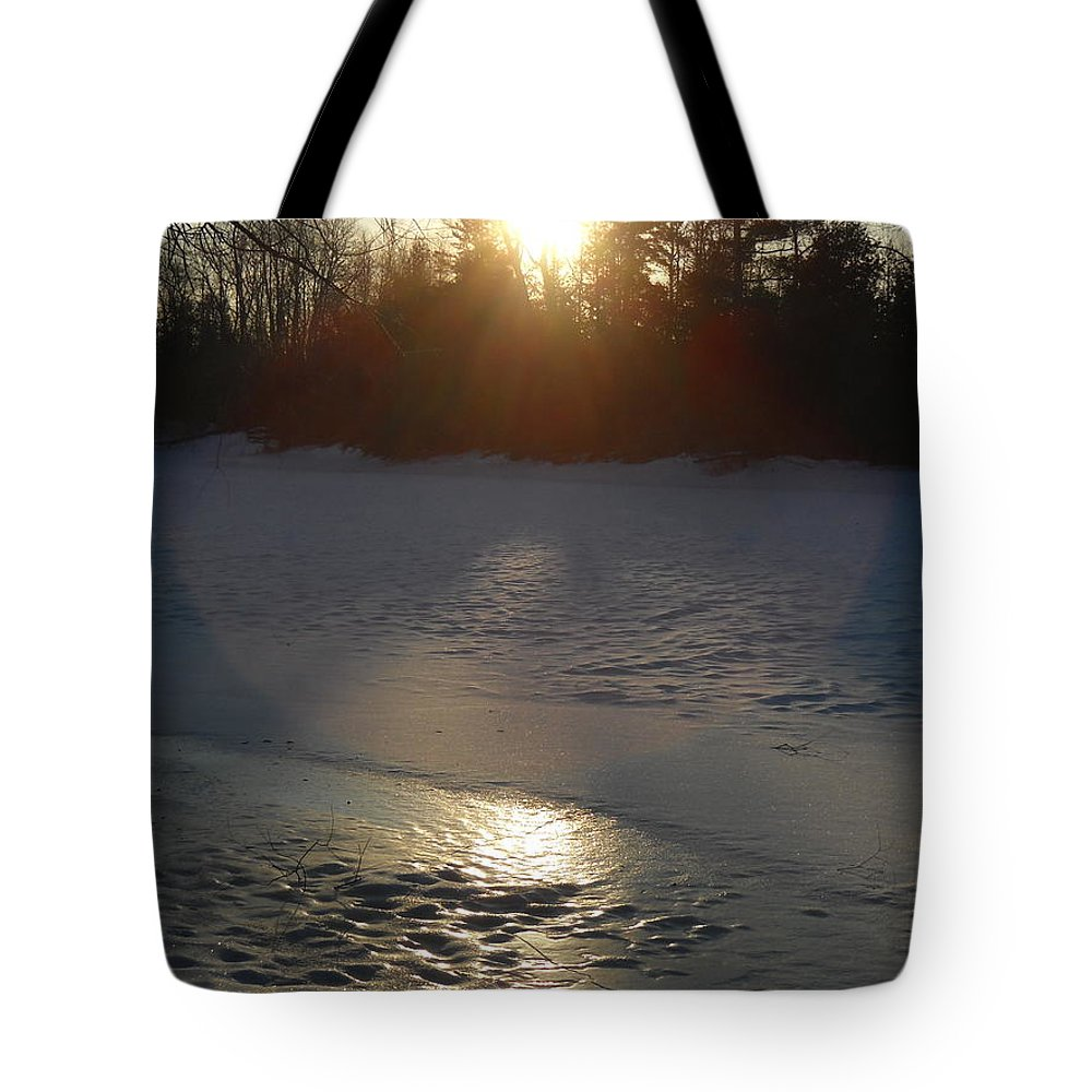 Mississippi River Tote Bag featuring the photograph Icy Sunrise Reflection by Kent Lorentzen