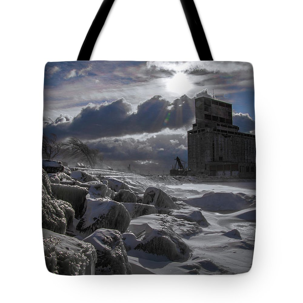 Winter Tote Bag featuring the photograph Icy Tundra In Buffalo by Mike Mambretti