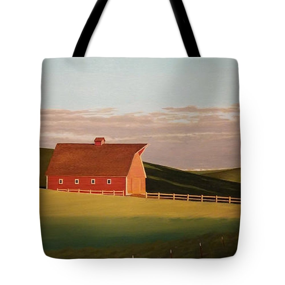 Wheat Tote Bag featuring the painting Idaho Farmstead by Leonard Heid