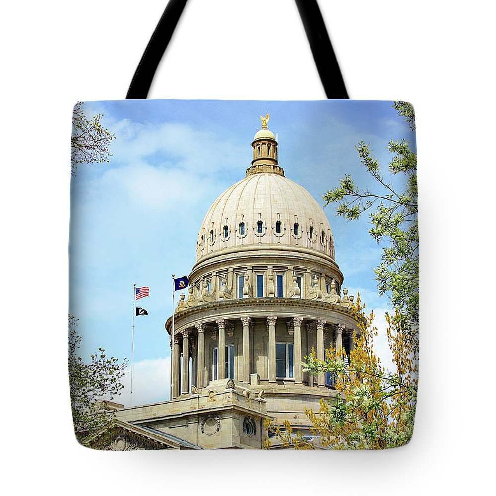 Boise Tote Bag featuring the photograph Idaho State Capitol In The Spring by Lost River Photography