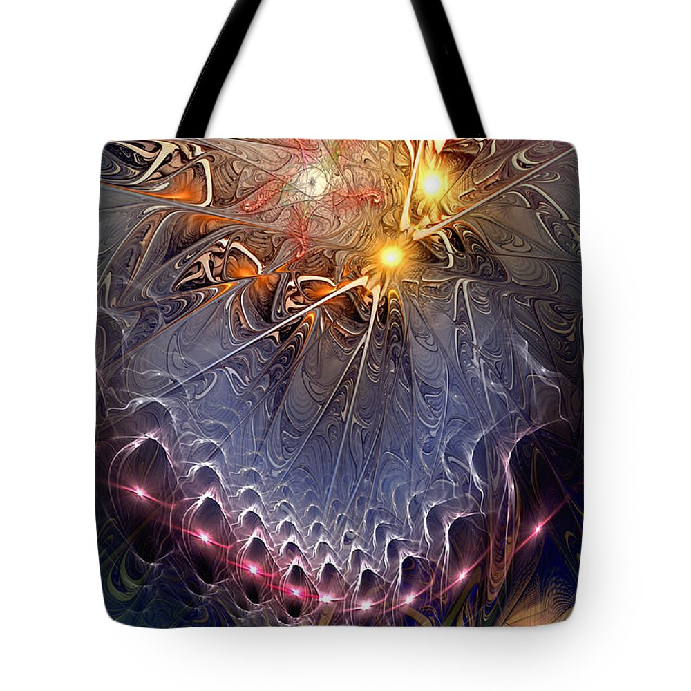 Abstract Tote Bag featuring the digital art Ideological Subterfuge by Casey Kotas