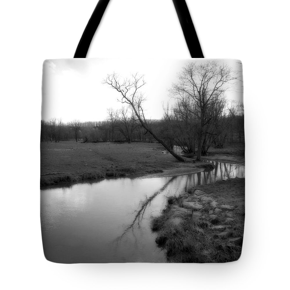 Landscape Tote Bag featuring the photograph Idyllic Creek - Black And White by Angela Rath