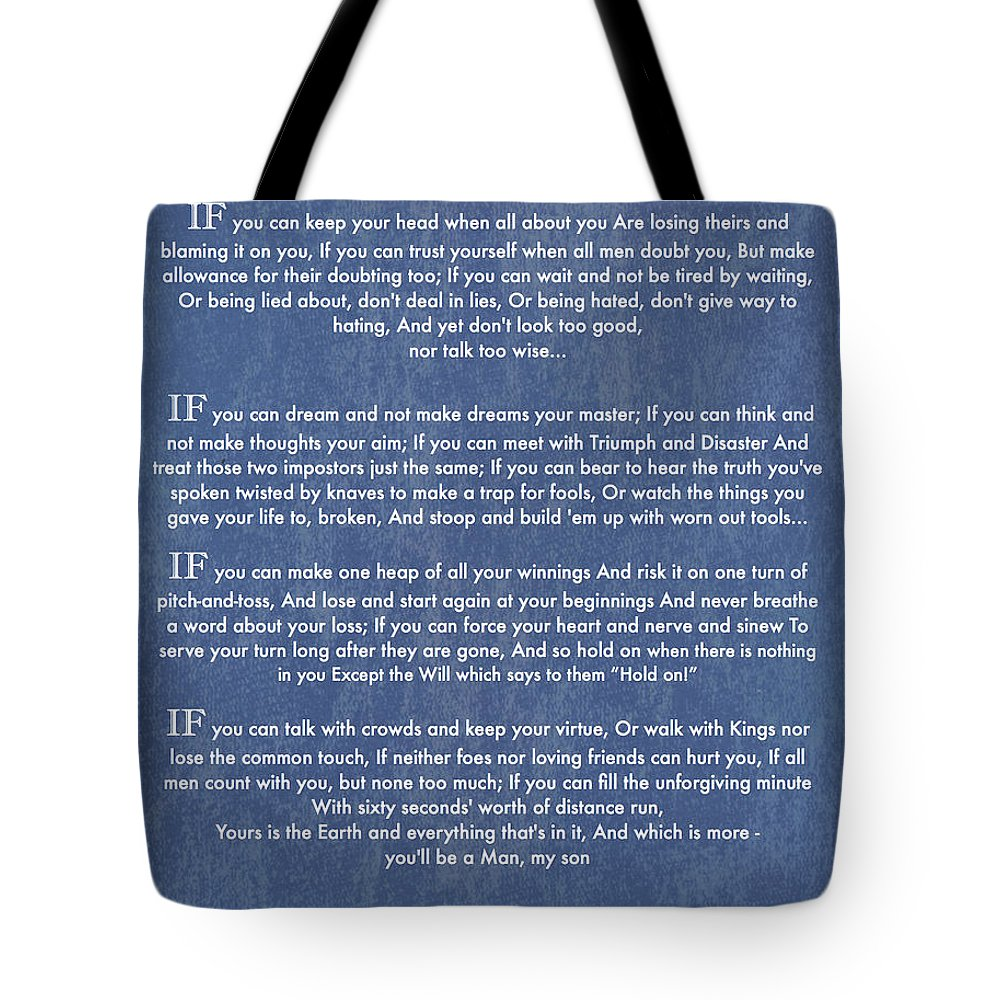 If Tote Bag featuring the painting If Quote By Rudyard Kipling On Blue Denim by Desiderata Gallery