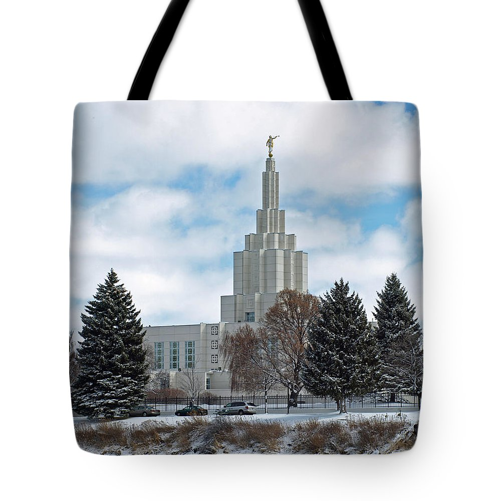 Lds Tote Bag featuring the photograph If Temple After Snow by DeeLon Merritt