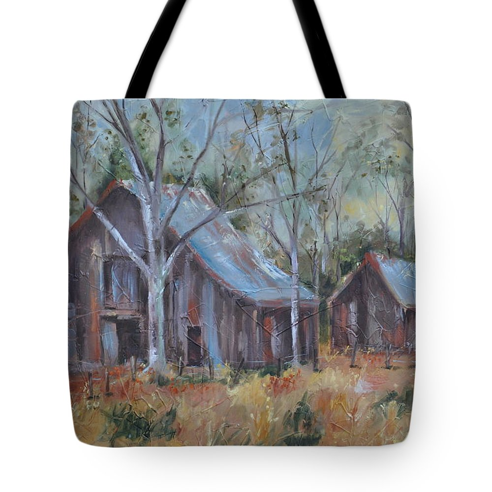 Barns Tote Bag featuring the painting If They Could Speak by Ginger Concepcion