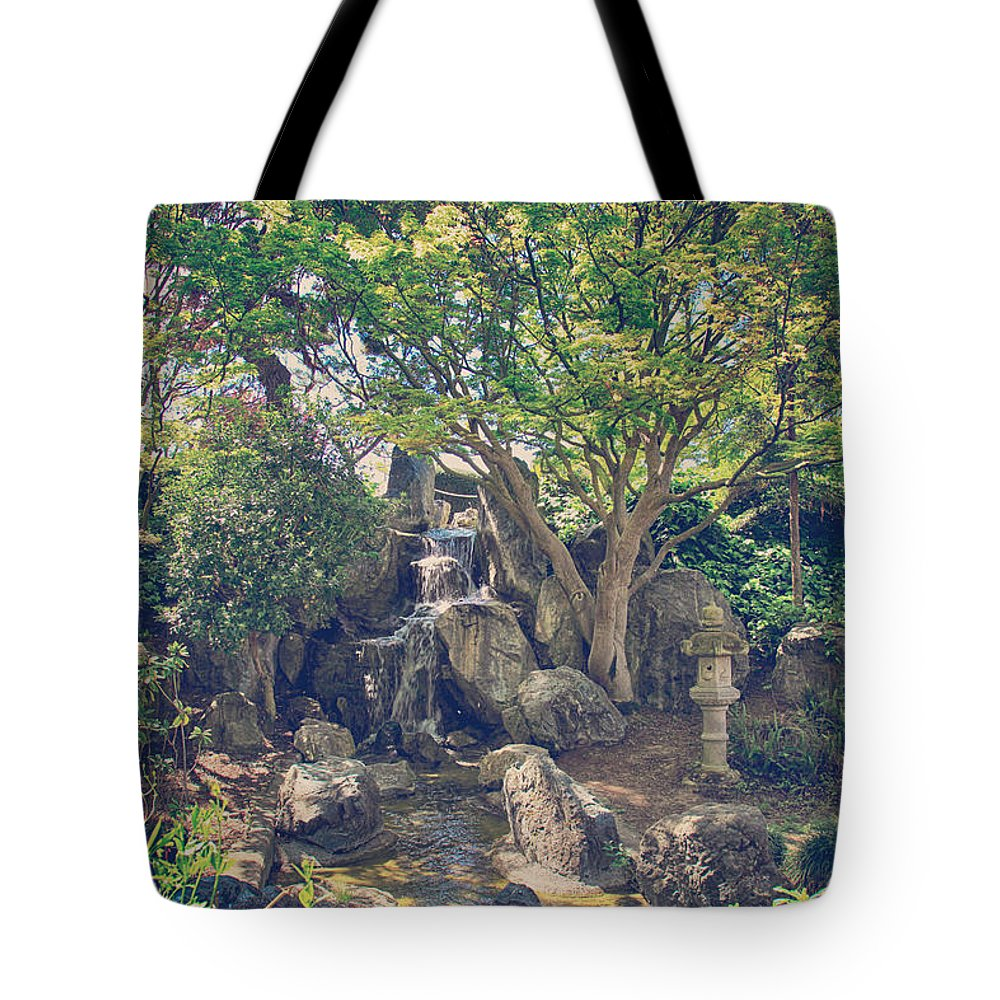 Japanese Friendship Garden Tote Bag featuring the photograph If We Sat Here Together by Laurie Search