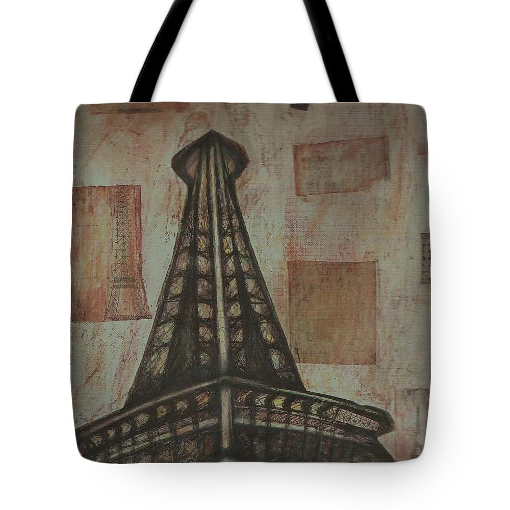 Structures Tote Bag featuring the painting Iffel Tower by Sidra Myers