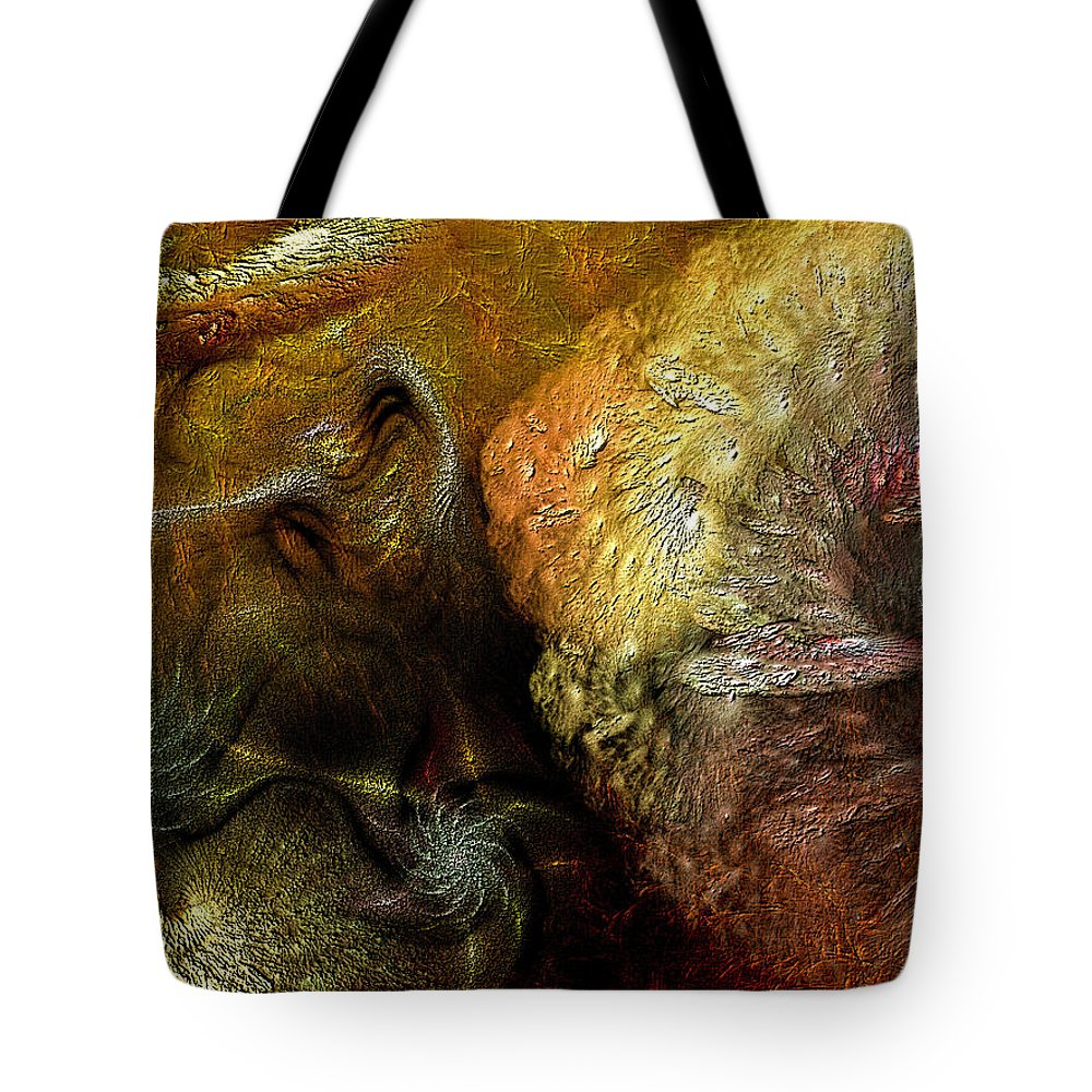 Abstract Tote Bag featuring the digital art Igneous by Casey Kotas