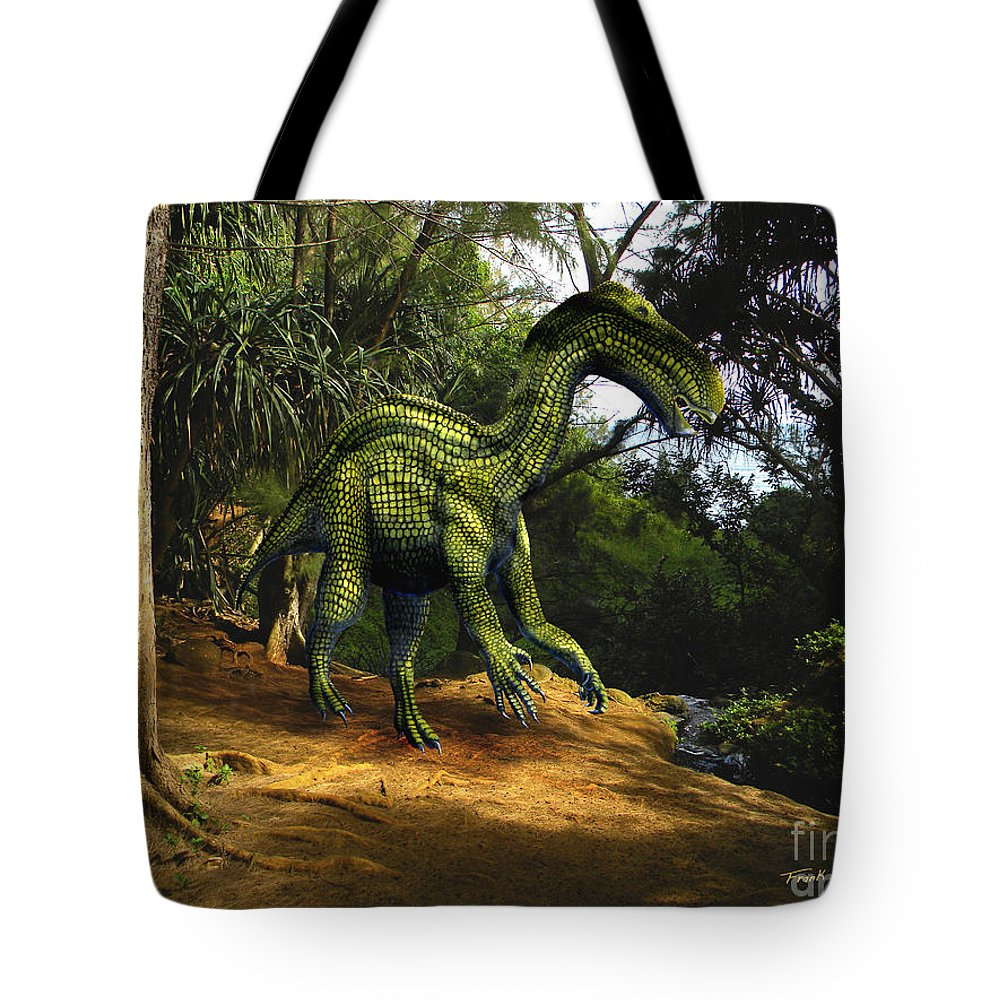 Dinosaur Art Tote Bag featuring the mixed media Iguanodon In The Jungle by Frank Wilson