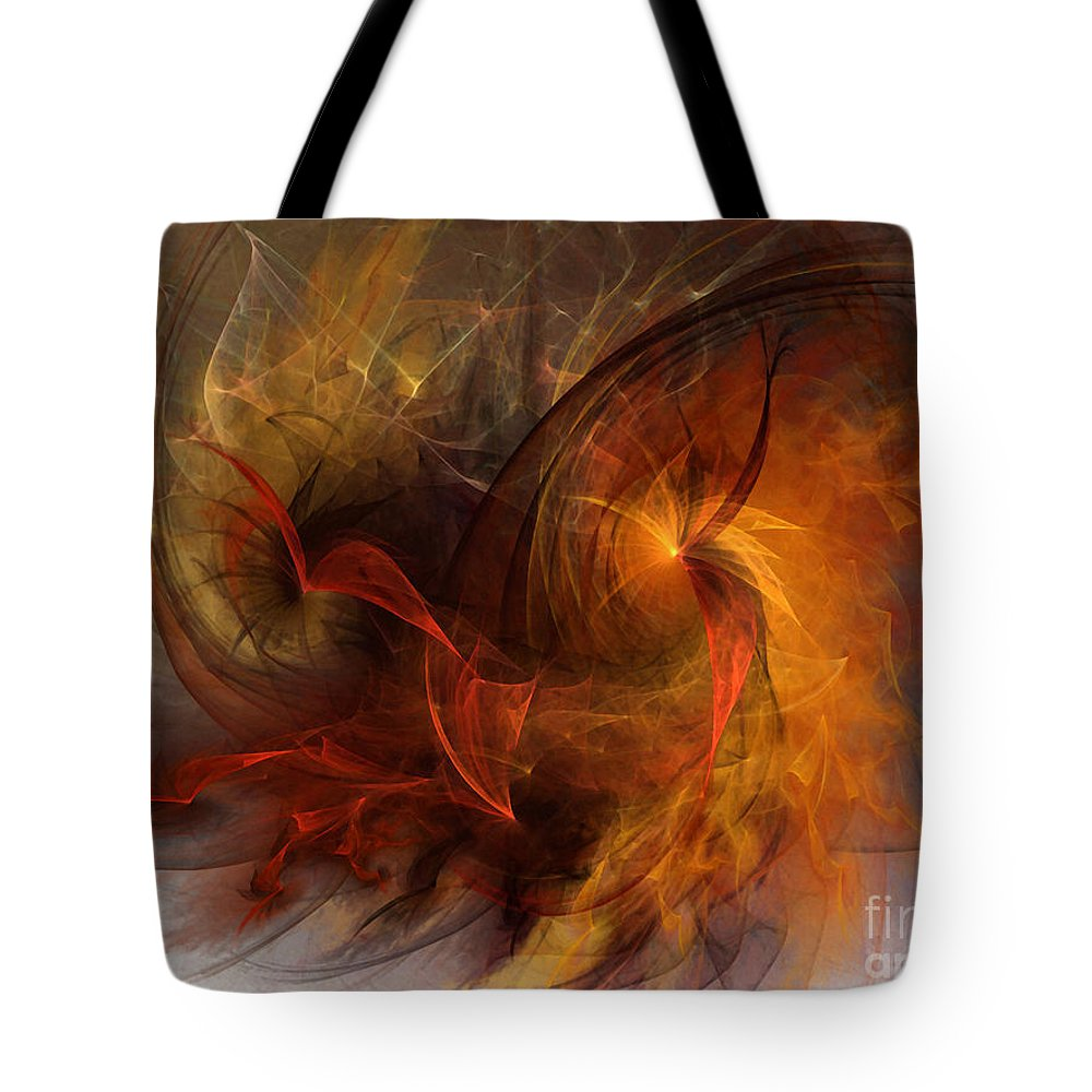 Abstract Tote Bag featuring the digital art Ikarus by Karin Kuhlmann