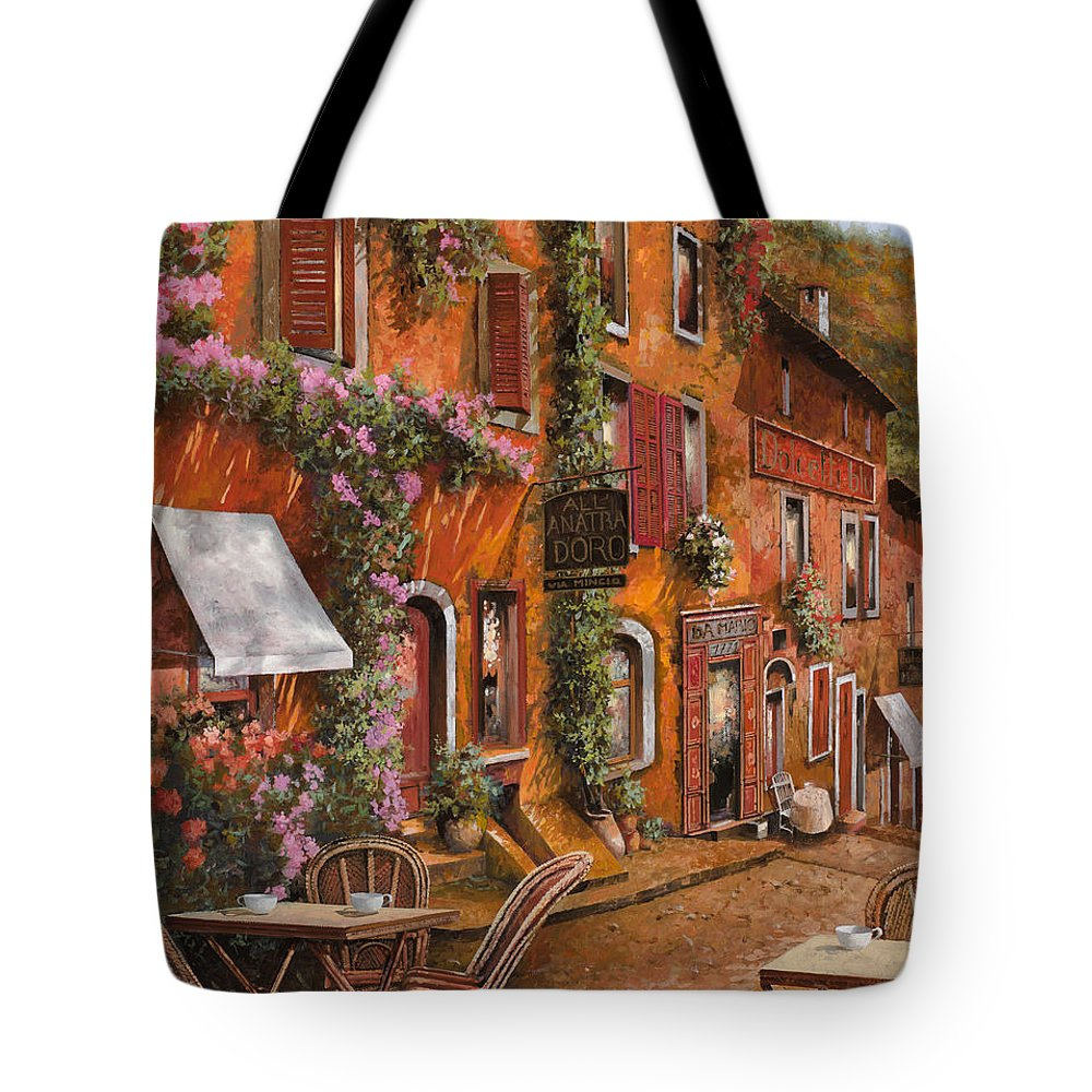 Cityscape Tote Bag featuring the painting Il Bar Sulla Discesa by Guido Borelli